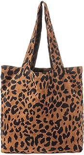 Große Damen-Handtasche aus Cord, Leopardenmuster, einzelne Schultertasche, Einkaufstasche