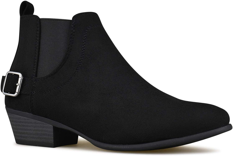 Zgshnfgk - Women's Elastic Side Panel Ankle Booties - Comfortable Closed Toe shoes - Low Heel Comfortable Walking Booties