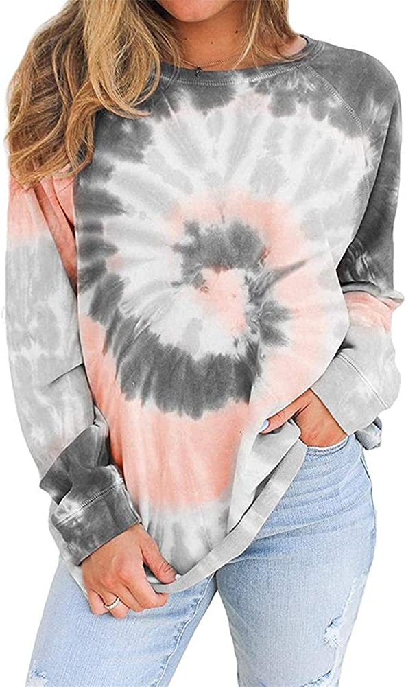 ZOCANIA Womens Gradient Color Tie-dye Loose Shirts Long Sleeve Color Tshirts Casual Cute Tee Tops