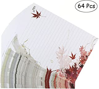Bolbove 64 Pcs Lovely Plant Elegant Fall Maple Leaves Letter Writing Stationery Paper Lined Sheets (White)
