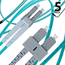 LC to SC Fiber Patch Cable Multimode Duplex - 5m (16.4ft) - 50/125um OM3 10G (5 Pack) - Beyondtech PureOptics Cable Series