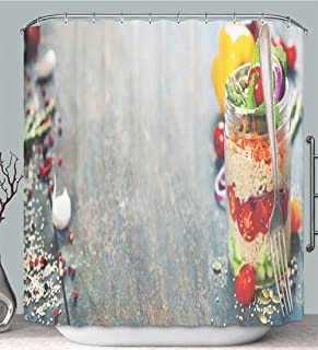 Shower Curtain Cucumber Quinoa Tomato Onion Carrot and Mint Salad Multi-Color,Fabric Shower Curtain Decoration Bathtub Bathroom Accessories with Hook