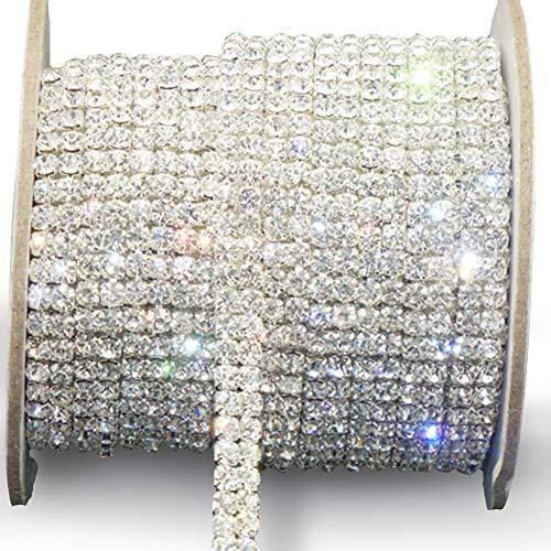 Awakingdemi Crystal Rhinestone Close Chain, Fashion SS16 Clear Rhinestone 1 Yard 2-Row Close Chain Trims Silver for Weeding DIY Decoration