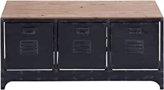 """Deco 79 51851 Brown Metal & Wood Storage Bench with 3 File Cabinet Drawers, 39"""" x 19"""""""