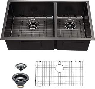 Logmey 32 inchBlack Double Bowl 16 Gauge Undermount 60/40 Stainless Steel Kitchen Sink