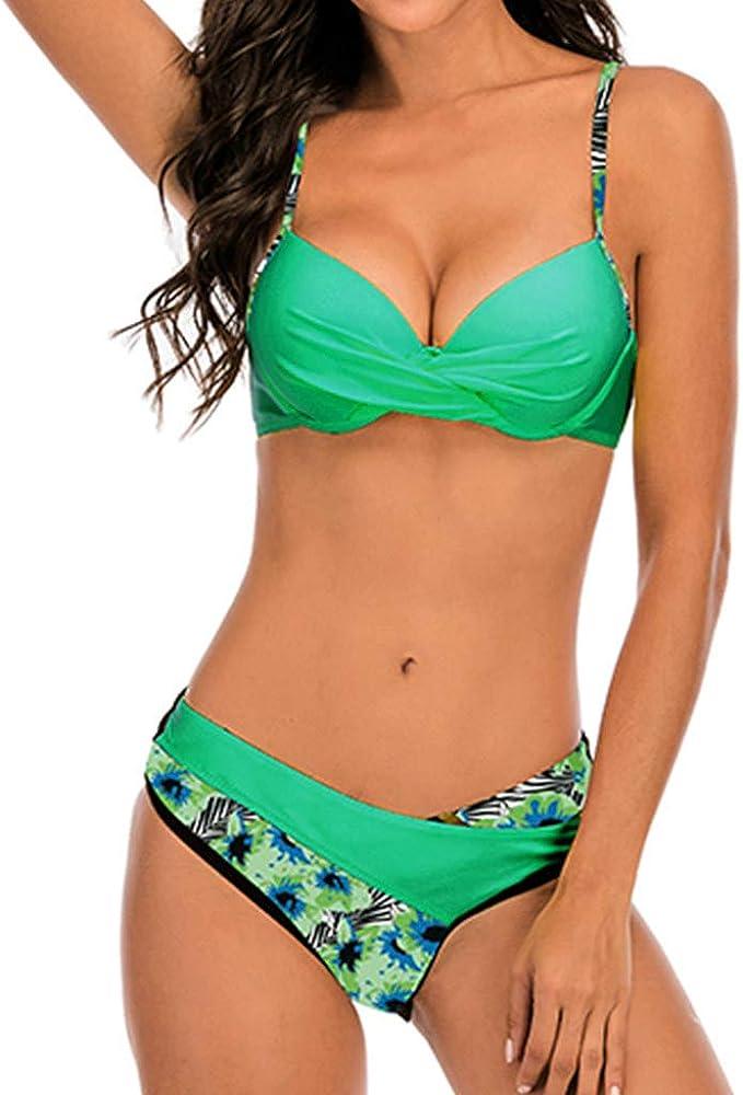 Chechury, costume da bagno due pezzi per donna, 82% poliammide, 18% elastan, verde chiaro