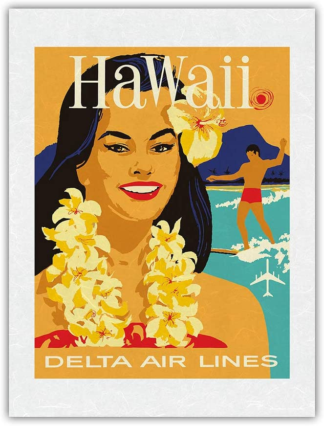 Hawaii - Lowest price Sales for sale challenge Delta Air Lines Hawaiian Flower a Island Wearing Girl