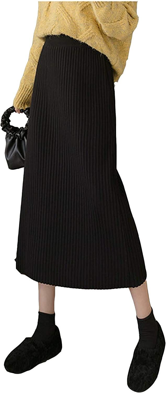 Bluecandy High Waist Straight Knitted Women 2020 Spring Korean Casual Elastic Waist Mid Long Skirt