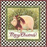 Boston International IHR Cocktail Beverage Paper Napkins, 5' X 5', Merry Christmas Pig