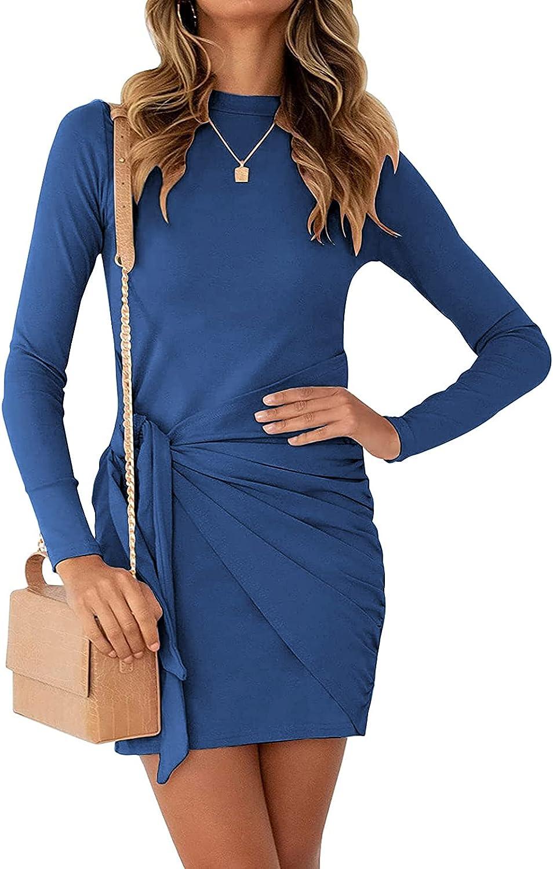 BTFBM Women Casual Crew Neck Long Sleeve Dresses Solid Color Slim Fit Tie Waist Ruched Bodycon Short Mini T Shirt Dress