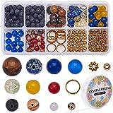 SUNNYCLUE 300pcs + DIY Galaxy Guardian Solar System Bracelet Making Kit Incluye 100pcs Planet Beads Y 100pcs Lava Stones Y 100pcs Spacer Beads para Mujeres Principiantes