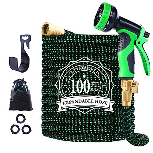 Expandable Garden Hose, 100ft Leakproof Garden Hose with 10 Functions Nozzle, Flexible Water Hose with Durable 3-Layers Latex Core, 3/4' Solid Brass Fittings, Premium 3750D Fabric