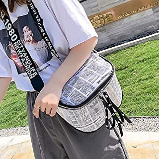 Fashion Single-Shoulder Bags Fashion Newspaper Printing Plastic Transparent Jelly Waist Chest Bag Dual-Zipper Single Shoulder Bag Messenger Bag (Orange) (Color : White)