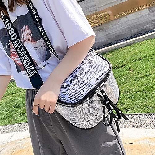 HMG Moda impresión de periódicos plástico Transparente Jelly Cintura Pecho Bolsa de Doble Sola Cremallera Bolsa de Hombro Messenger Bag (Naranja) (Color : White)