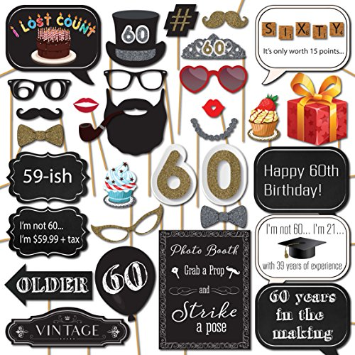 60th Birthday Photo Booth Props with Strike a Pose Sign - 31 Printed Pieces with Wooden Sticks