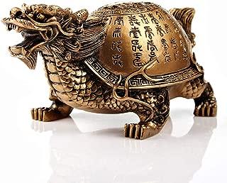 Feng Shui Resin Dragon Turtle with Scripture Statue Home Decor Symbol of Longevity Fertility(Bronze)