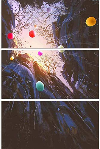 ArtzFolio ColGoldt Balloons Floating Into The Sky Split Art Painting Panel On Sunboard 28 X 41.6Inch