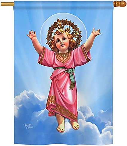 """Amazon.com: Divino Niño Jesús Divino Niño Jesús Gran bandera 28""""x40"""" : Patio, Césped y Jardín"""