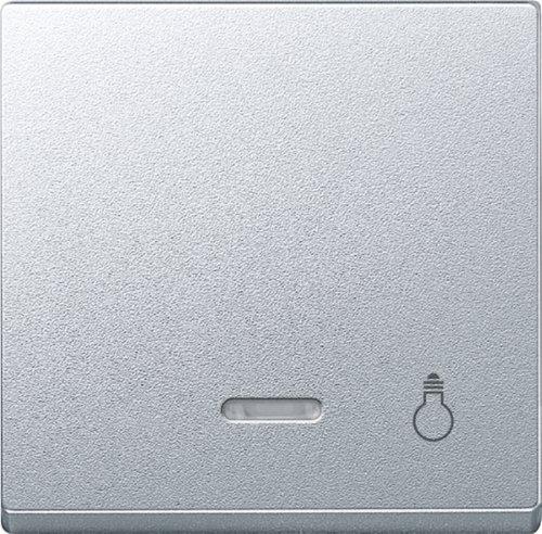 Merten 430960 System M - Interruptor basculante con luz de control e impresión de bombilla (aluminio)