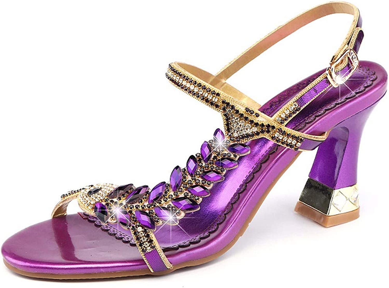 HBDLH Damenschuhe Wasser Luft Sandalen Absatz 7 cm Dicke Sohle Crystal Rom Mode Fishmouth Schuhe