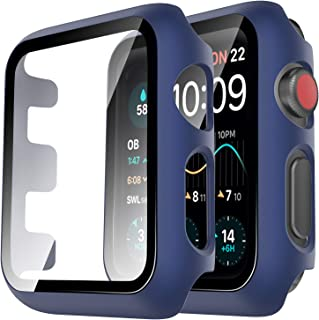 Tauri 2 Pack Hard Case for Apple Watch Series 3 2 1 42mm Built in 9H Tempered Glass Screen Protector Slim Bumper Touch Sen...