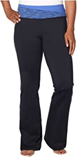 Women Mid-Rise Relaxed Leg Yoga Pants (black and blue, large)