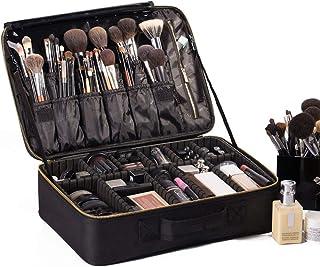 "ROWNYEON Travel Makeup Bag Cosmetic Makeup Train Case Artist Makeup Organizer Professional Portable Storage Bag for Women Toiletry Organizer with EVA Adjustable Dividers 16.14"" Large Black"