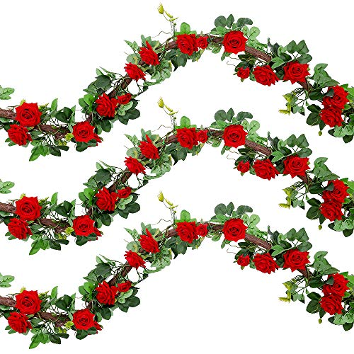 Veryhome Artificial Silk Rose Flowers Ivy Garland Fake Vines Hanging Plant Leaves For Wedding Party Garden Wall Valentine Decorations 1PCS ( Red, Regular Version )