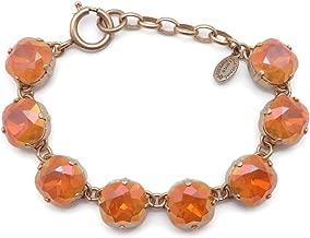 Catherine Popesco 12mm Golden Blush Swarovski Crystal Cushion Cut Goldtone Bracelet Adjustable