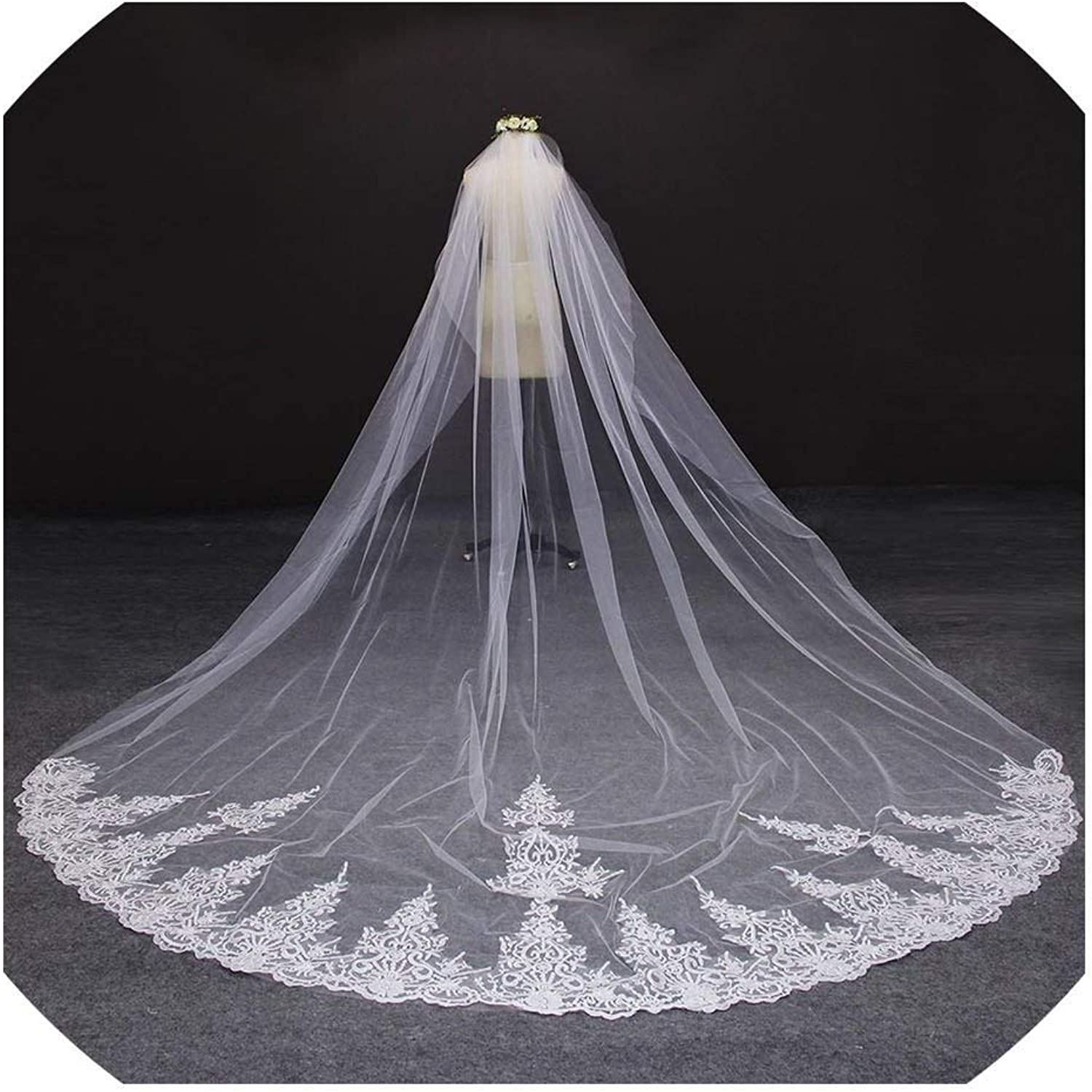 4 Meter White Ivory One Layer Beautiful Cathedral Length Lace Edge Wedding Veil With Comb Long Bridal Veil,Ivory