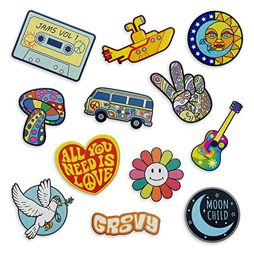 Iron on Hippie Patches Retro - The Carefree Bee   Set of 12 Iron On Vintage Patches, Cute Patches for Backpacks, Jeans, Jackets and Clothes   Peace Sign Patches   The Beatles Iron On Patches (Set 4)