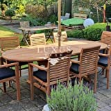 Luxus Home And <span class='highlight'>Garden</span> Teak <span class='highlight'>Garden</span> Furniture Oval 180-240 cm Extending Table (8 Stacking <span class='highlight'>Chair</span>s) Complete Set Cushions Included