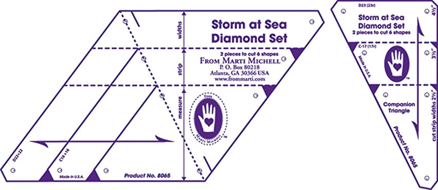 Marti Michell , 8065 ,Diamond Template Set, Storm at Sea, 2 Pieces Per Pack