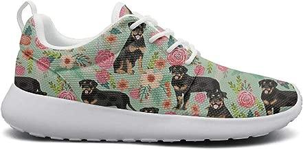 LOKIJM Cute Corgi Spring Floral Print Walking Shoes Women Classic Breathable Running Shoes