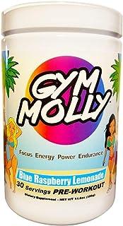 Gym Molly Pre Workout Powder Energy Drink Supplement | Vegan BCAAs | 0 Carbs | for Men & Women, Blue Raspberry Lemonade (30 Servings, 11.4 oz)