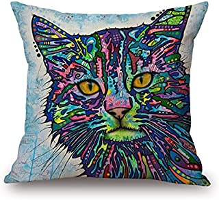 Elliot_yew Rainbow Cat Cushion Cover Cotton Linen Throw Pillow Case Sham Square Pillowcase for Living Drawing Family Room Sofa Chair Seat
