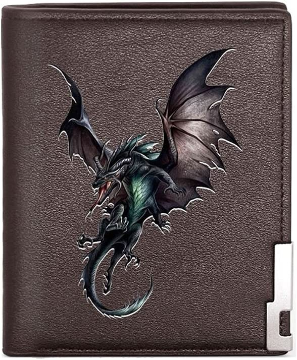 MIADEAL Men's Dragon Wallet Card Holder, Genuine Leather Bifold Wallets (Brown Leather)
