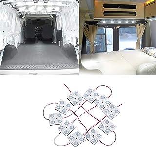 HANEU led 12v Caravana Interior de Las Luces de la Barra de la Tira de la l/ámpara de Coches Van Bus Caravan 72 Leds 12V-84V con 2 Cables de extensi/ón 2pcs