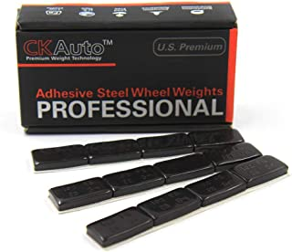CKAuto 1oz, Black, Adhesive Stick on Wheel Weights,EasyPeel Tape.Low Profile, 72 oz/Box, US Quality(72pcs)
