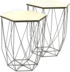 The concept factory Lot de 2 Tables gigogne Filaire Grise