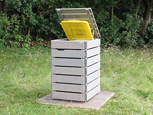 1er Mülltonnenbox / Mülltonnenverkleidung 240 L Holz, Grau Geölt