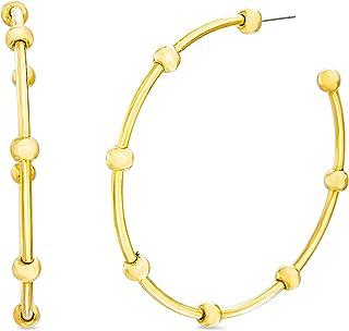 Steve Madden Yellow Ball Studded Hoop Earrings for Women