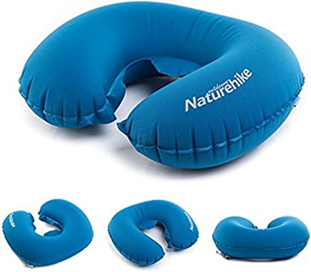 VOIMAKAS Inflatable U Shape Neck Pillow,  Portable Travel Blow Up Air Cushion Comfortable Neck Support with Compression Bag for Office Airplane Train Car