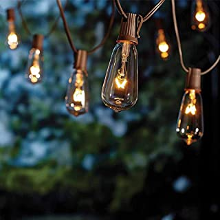 ST40 20Ft Edison String Lights with 21 Clear Edison Bulbs, UL Listed 7W E17 Base Vintage Edison Light String for Patio, Porches, Bistro, Backyard - Brown Wire