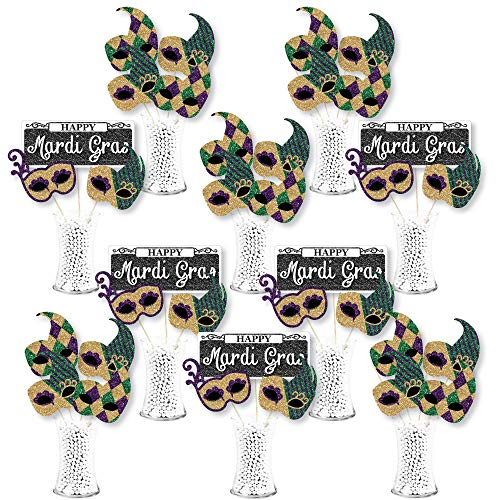 Big Dot of Happiness Mardi Gras - Masquerade Party Centerpiece Sticks - Showstopper Table Toppers - 35 Pieces