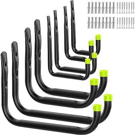 Queta Crochets pour Garage, Crochets utilitaires résistants de stockage de garage avec le bras jumbo , pour outils électriques, vélos, échelles, Paquet (4 tailles ,paquet de 8)