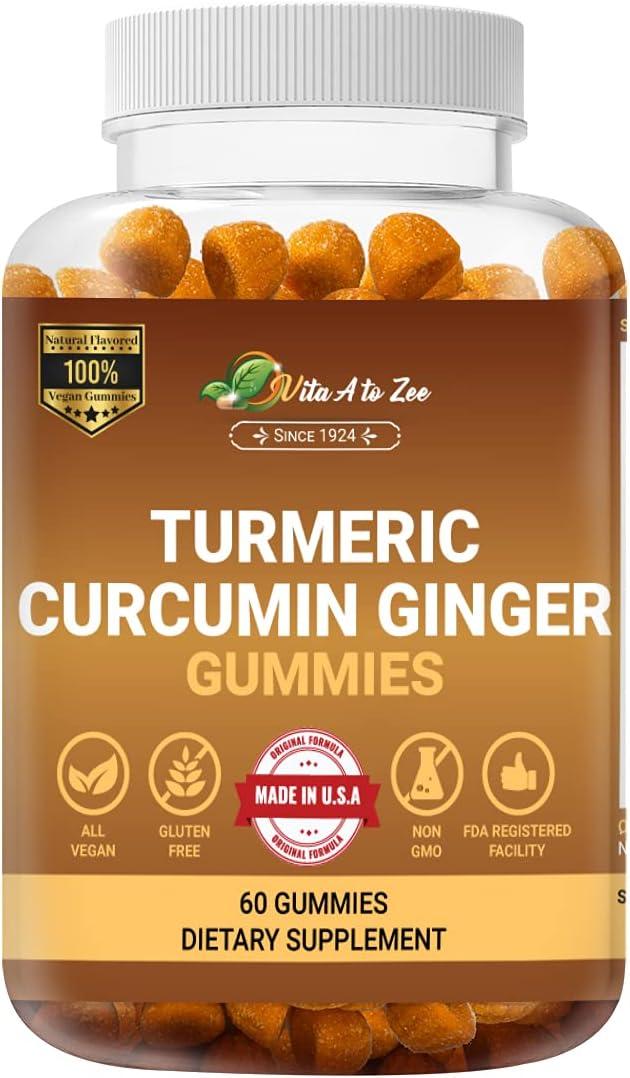 Vita A to Zee Turmeric Miami Mall Gummies Ginger Max 70% OFF Bl Curcumin 60 Count