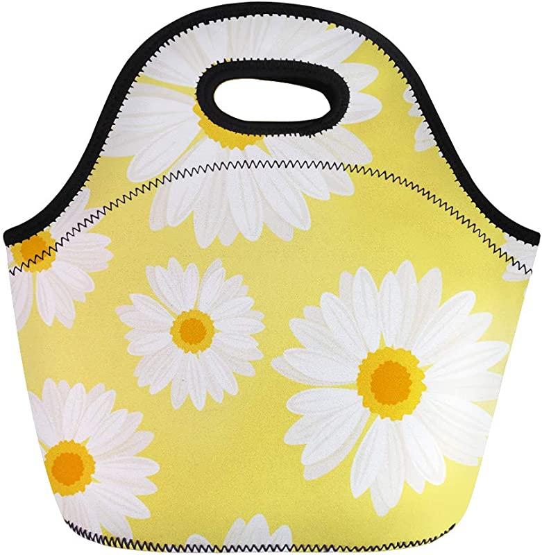 Semtomn Lunch Tote Bag Orange Pattern Daisy Flowers On Yellow White Chamomile Floral Reusable Neoprene Insulated Thermal Outdoor Picnic Lunchbox For Men Women