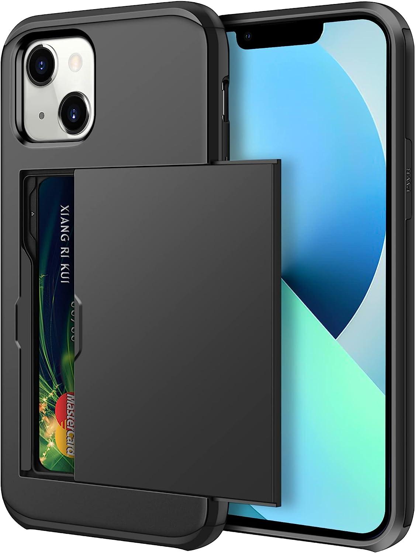 SAMONPOW Case for iPhone 13 Mini Case Women Men Wallet iPhone 13 Mini Case, Heavy Duty Protective Hybrid Case for iPhone 13 Mini, Shockproof Anti Scratch, Soft Rubber Bumper 5.4 inch Black