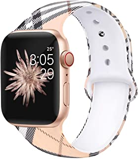 Kaome Floral Bands Compatible with App le Watch Band 38mm 40mm 42mm 44mm, Soft Silicone Fadeless Pattern Printed Replacement Strap Bands for Women, Compatible with iWatch Series 5/4/3/2/1, S/M M/L